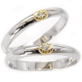 結婚指輪 【送料無料】ペアリング ホワイトゴールドk10 イエローゴールドk18ダイヤモンド マリッジリング 10金 ダイヤ ストレート カップル 贈り物 誕生日プレゼント ギフト ファッション パートナー