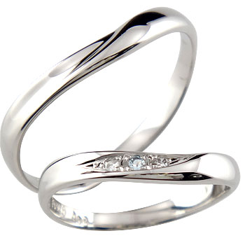 結婚指輪 ペアリング ダイヤモンド アクアマリン ホワイトゴールドk10 マリッジリング ダイヤ ストレート カップル 贈り物 誕生日プレゼント ギフト ファッション パートナー 送料無料