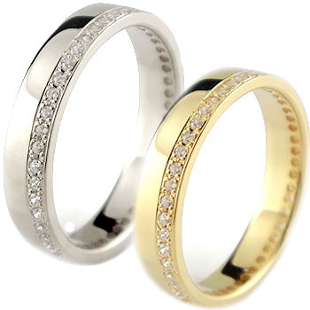 結婚指輪 ペアリング マリッジリング フルエタニティ ダイヤモンド イエローゴールドk18 ホワイトゴールドk18 18金 ダイヤ ストレート カップル 贈り物 誕生日プレゼント ギフト ファッション