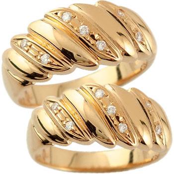 結婚指輪 ペアリング マリッジリング ダイヤモンド 幅広 ピンクゴールドk18 結婚式 18金 ダイヤ ストレート カップル 贈り物 誕生日プレゼント ギフト ファッション パートナー 送料無料