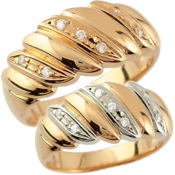 結婚指輪 ペアリング マリッジリング ダイヤモンド 幅広 ピンクゴールドk18 プラチナ 結婚式 18金 ダイヤ ストレート カップル 贈り物 誕生日プレゼント ギフト ファッション パートナー 送料無料