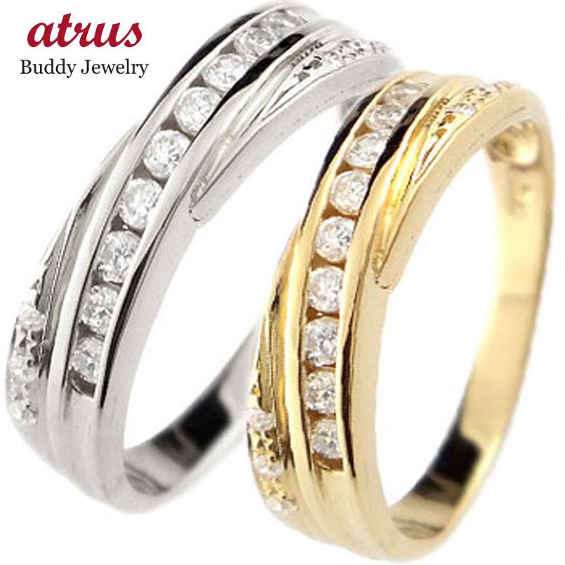 結婚指輪 ペアリング マリッジリング ダイヤモンド イエローゴールドk18 ホワイトゴールドk18 結婚式 18金 ダイヤ ストレート カップル 贈り物 誕生日プレゼント ギフト ファッション パートナー 送料無料