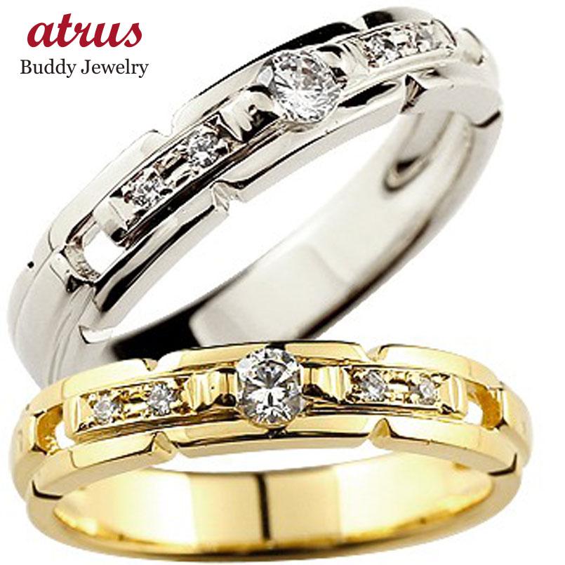 ペアリング 【送料無料】鑑定書付 人気 結婚指輪 ダイヤモンド マリッジリング 結婚式 SI イエローゴールドk18 ホワイトゴールドk18 ダイヤ 18金 ストレート カップル 贈り物 誕生日プレゼント ギフト ファッション パートナー
