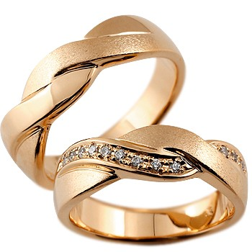 ペアリング ダイヤモンド 結婚指輪 マリッジリング 幅広 つや消し ピンクゴールドk18 18金 結婚式 ダイヤ ストレート カップル 贈り物 誕生日プレゼント ギフト ファッション パートナー 送料無料
