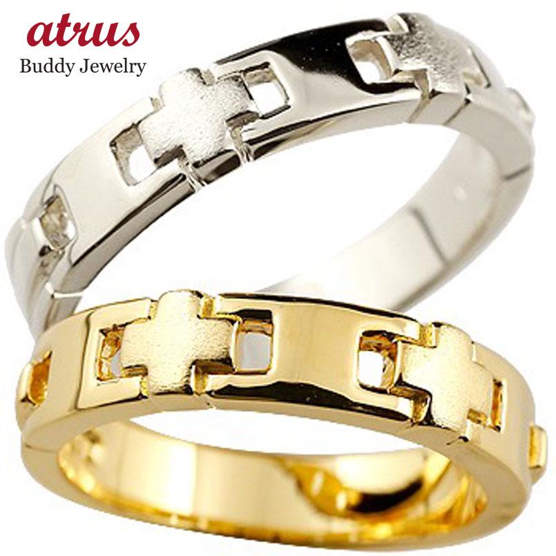 結婚指輪 クロス ペアリング マリッジリング 幅広 リング 地金リング イエローゴールドk18 ホワイトゴールドk18 十字架 つや消し 18金 結婚式 ストレートブライダル シンプル 人気 ペア シンプル 2本セット 彼女 結婚記念日 パートナー 送料無料