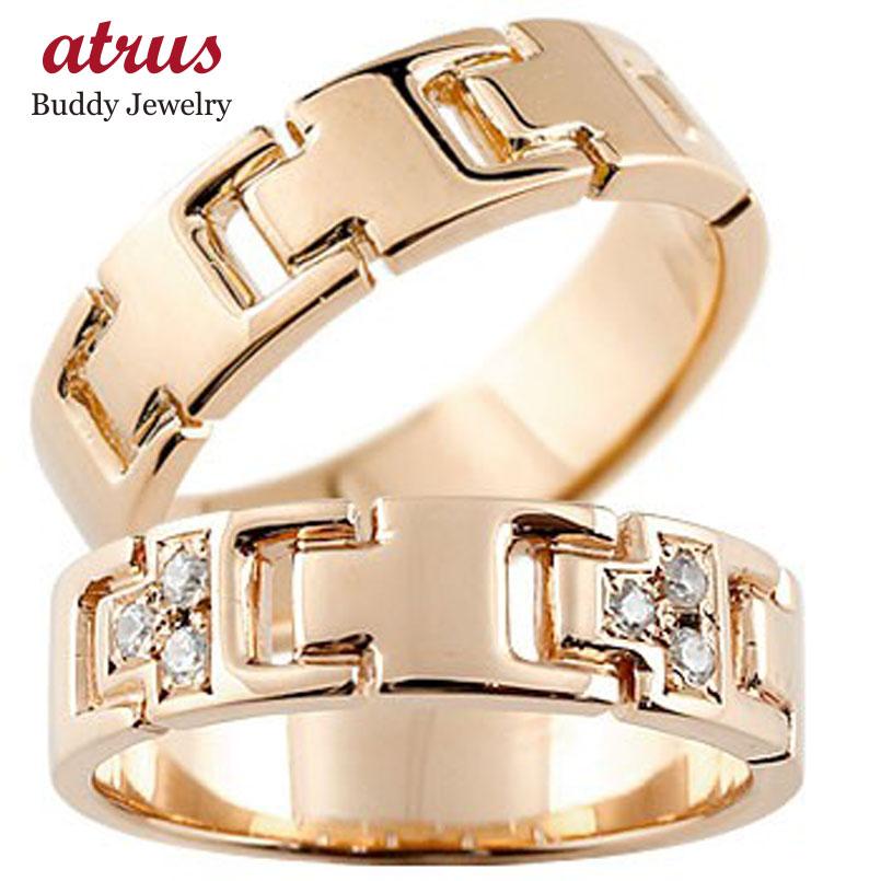 結婚指輪 ペアリング ダイヤモンド ピンクゴールドk18 マリッジリング ダイヤ シンプル 結婚式 18金 人気 ストレート カップル 贈り物 誕生日プレゼント ギフト ファッション パートナー 送料無料