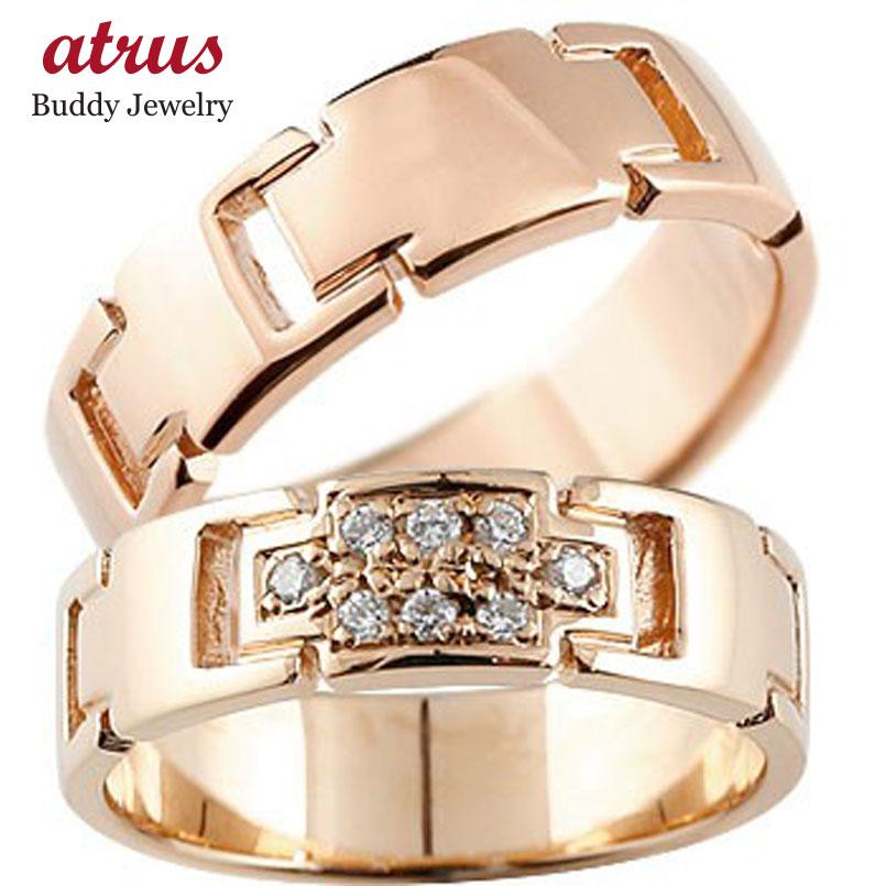 結婚指輪 ペアリング クロス マリッジリング ダイヤモンド ピンクゴールドk18 ダイヤ 十字架 シンプル 結婚式 18金 人気 ストレート カップル 贈り物 誕生日プレゼント ギフト ファッション パートナー 送料無料
