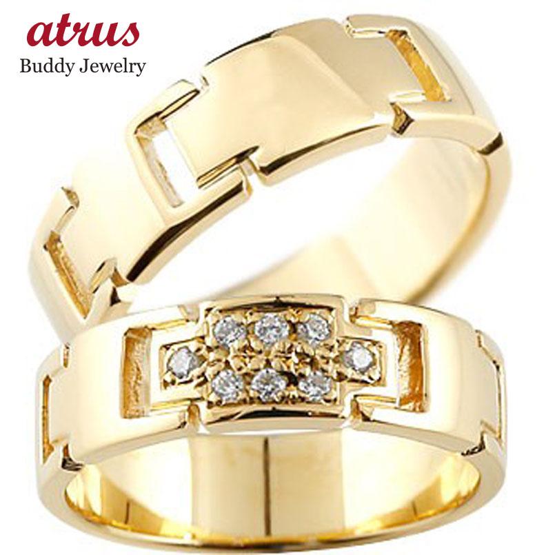 ペアリング クロス 結婚指輪 マリッジリング ダイヤモンド イエローゴールドK18 ダイヤ 十字架 シンプル 結婚式 18金 人気 ストレート カップル 贈り物 誕生日プレゼント ギフト ファッション パートナー 送料無料