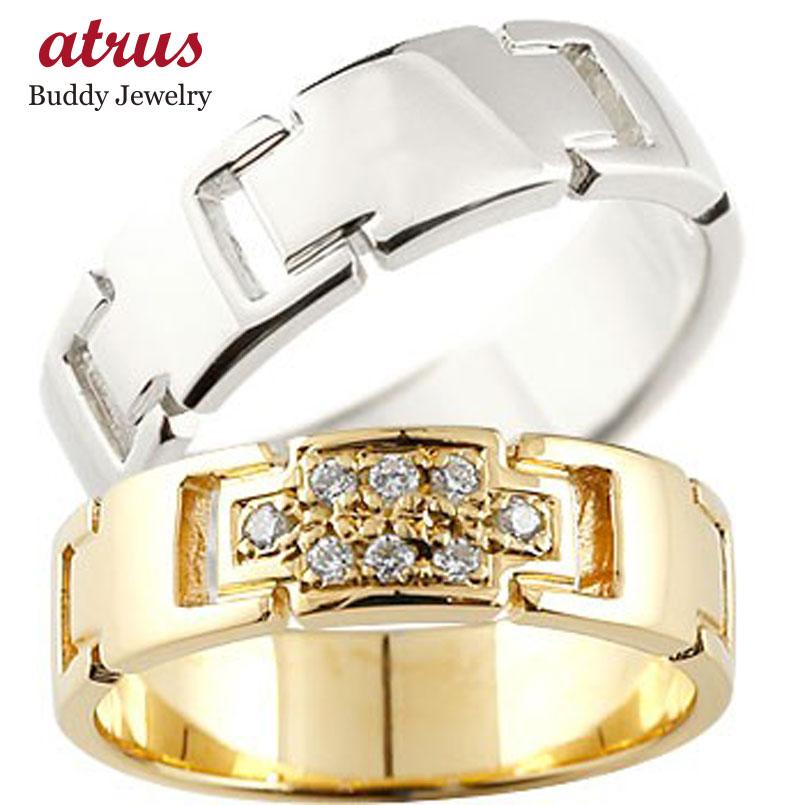 結婚指輪 ペアリング クロス マリッジリング ダイヤモンド イエローゴールドK18 プラチナ ダイヤ 十字架 シンプル 結婚式 人気 18金 ストレート カップル 贈り物 誕生日プレゼント ギフト ファッション パートナー 送料無料