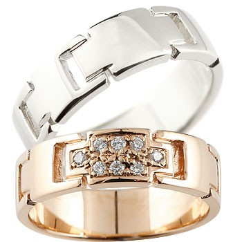 結婚指輪 ペアリング クロス マリッジリング ダイヤモンド ピンクゴールドk18 プラチナ ダイヤ 十字架 シンプル 結婚式 人気 18金 ストレート カップル 贈り物 誕生日プレゼント ギフト ファッション パートナー 送料無料