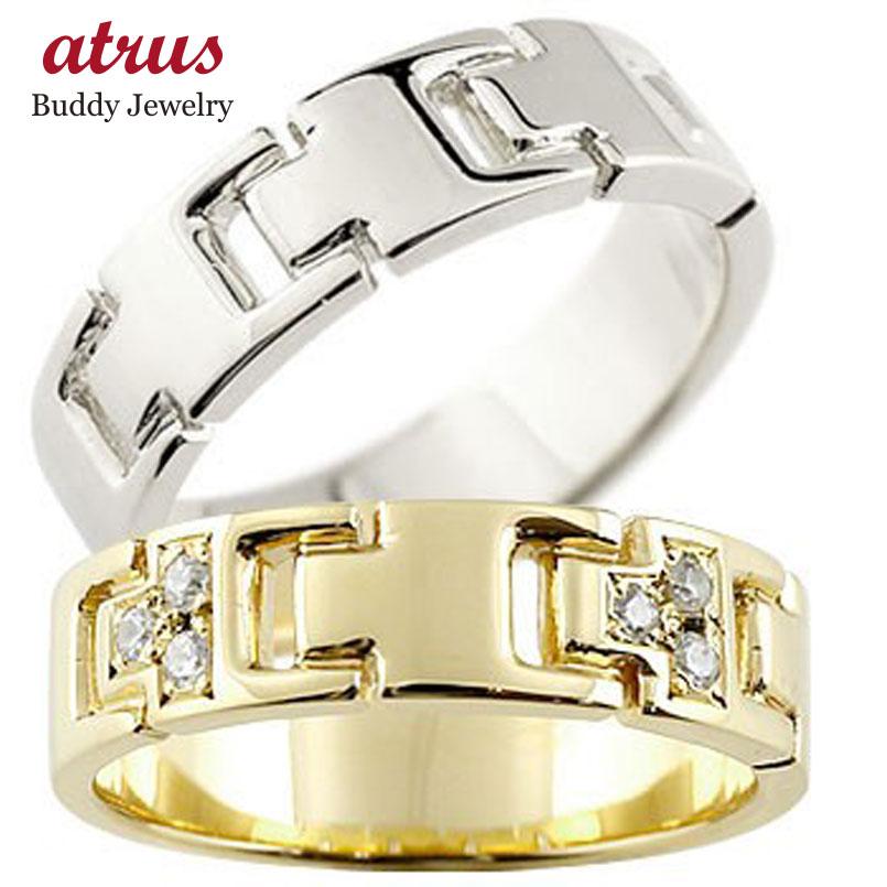 結婚指輪 ペアリング ダイヤモンド マリッジリング イエローゴールドK18 ホワイトゴールドk18 ダイヤ シンプル 結婚式 18金 人気 ストレート カップル 贈り物 誕生日プレゼント ギフト ファッション パートナー 送料無料