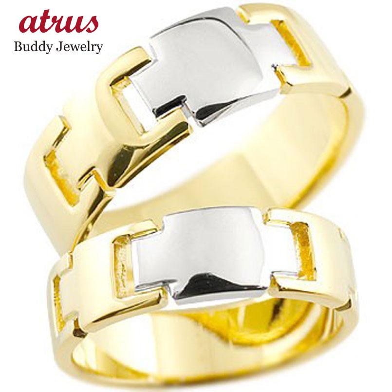 ペアリング クロス 結婚指輪 マリッジリング イエローゴールドK18 プラチナ コンビリング 地金リング 十字架 シンプル 結婚式 宝石なし 人気 18金 ストレート 贈り物 誕生日プレゼント ギフト ファッション パートナー 送料無料