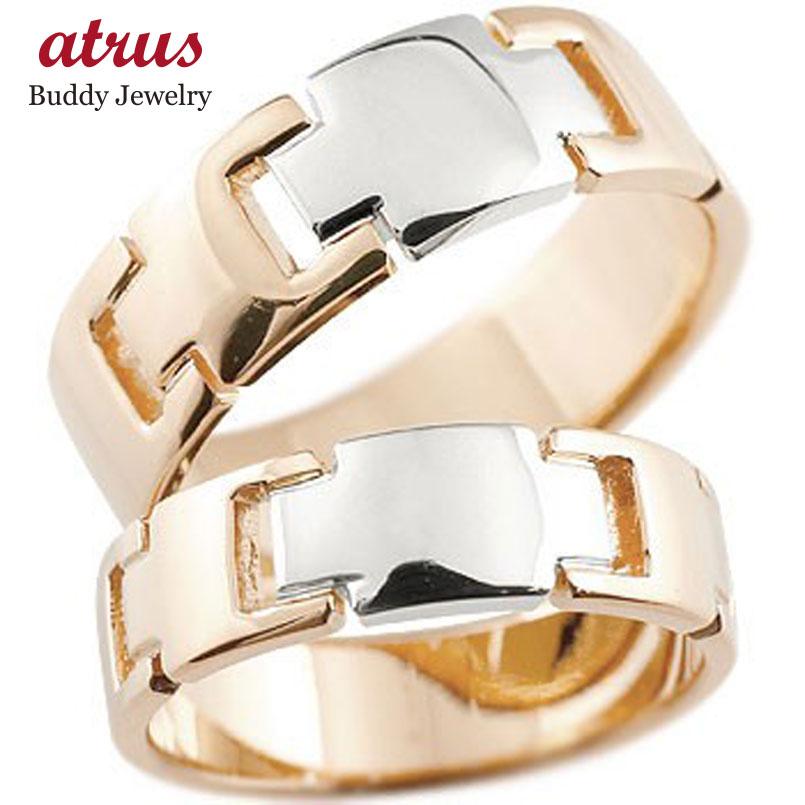 結婚指輪 クロス ペアリング マリッジリング ピンクゴールドk18 プラチナ コンビリング 地金リング 十字架 シンプル 結婚式 宝石なし 人気 18金 ストレート 贈り物 誕生日プレゼント ギフト ファッション