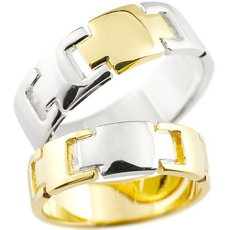 結婚指輪 クロス ペアリング マリッジリング イエローゴールドK18 プラチナ コンビリング 地金リング 十字架 シンプル 結婚式 宝石なし 人気 18金 ストレート 贈り物 誕生日プレゼント ギフト ファッション パートナー 送料無料