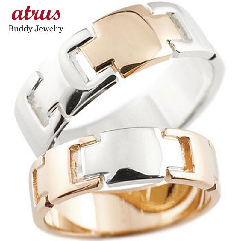 結婚指輪 クロス ペアリング マリッジリング ピンクゴールドk18 プラチナ コンビリング 地金リング 十字架 シンプル 結婚式 宝石なし 人気 18金 ストレート 贈り物 誕生日プレゼント ギフト ファッション パートナー 送料無料