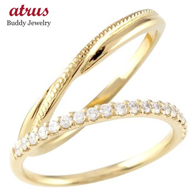 結婚指輪 ペアリング マリッジリング ハーフエタニティ ダイヤモンド イエローゴールドk18 18金 極細 華奢 ストレート スイートペアリィー カップル 贈り物 誕生日プレゼント ギフト ファッション パートナー 送料無料