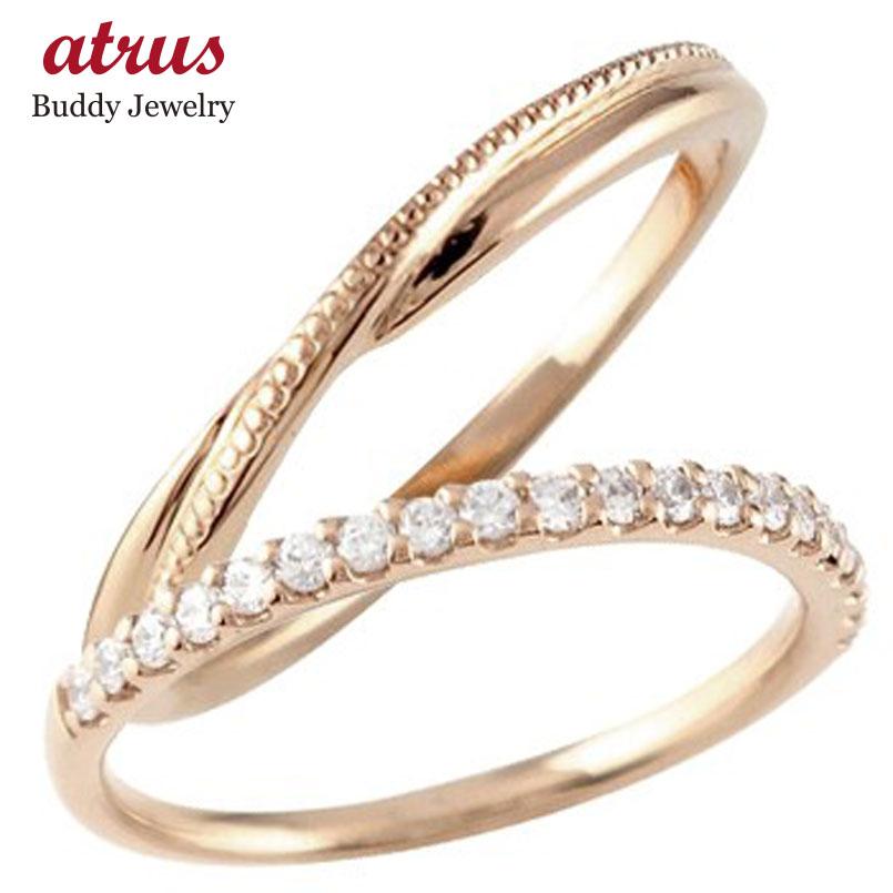 結婚指輪 ペアリング マリッジリング ハーフエタニティ ダイヤモンド ピンクゴールドk10 10金 極細 華奢 ストレート スイートペアリィー カップル 贈り物 誕生日プレゼント ギフト ファッション パートナー 送料無料