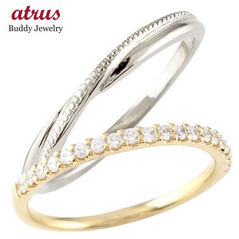 結婚指輪 ペアリング マリッジリング ハーフエタニティ ダイヤモンド イエローゴールドk10 ホワイトゴールドk10 10金 コンビ 極細 華奢 ストレート スイートペアリィー 贈り物 誕生日プレゼント ギフト ファッション パートナー 送料無料