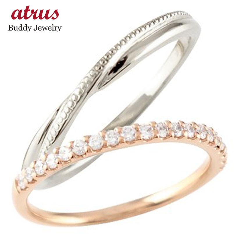 結婚指輪 ペアリング マリッジリング ハーフエタニティ ダイヤモンド ピンクゴールドk18 ホワイトゴールドk1818金 コンビ 極細 華奢 ストレート スイートペアリィー 贈り物 誕生日プレゼント ギフト ファッション