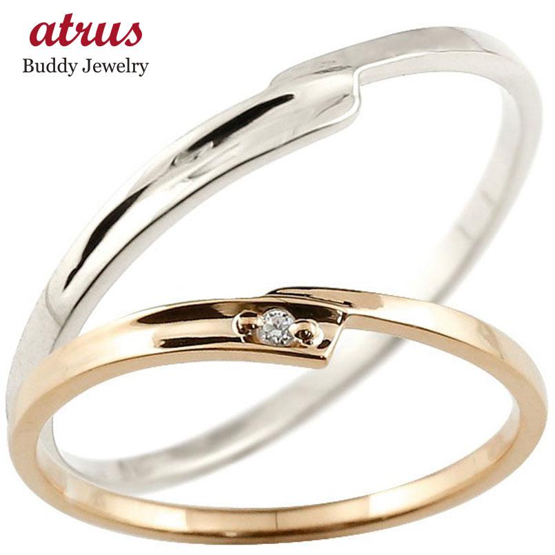 結婚指輪 ペアリング マリッジリング ダイヤモンド ピンクゴールドk10 ホワイトゴールドk10 ダイヤ 10金 極細 華奢 スパイラル 結婚式 スイートペアリィー カップル 贈り物 誕生日プレゼント ギフト ファッション パートナー 送料無料