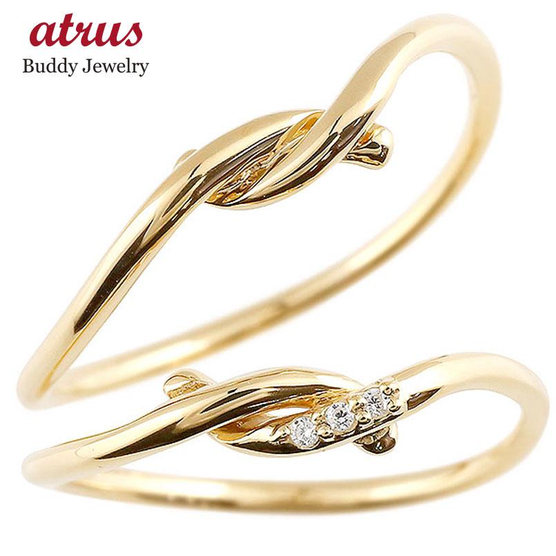 結婚指輪 マリッジリング ペアリング イエローゴールドk10 ダイヤモンド スイートペアリィー 結び リング 10金 華奢 ストレート ファッション パートナー