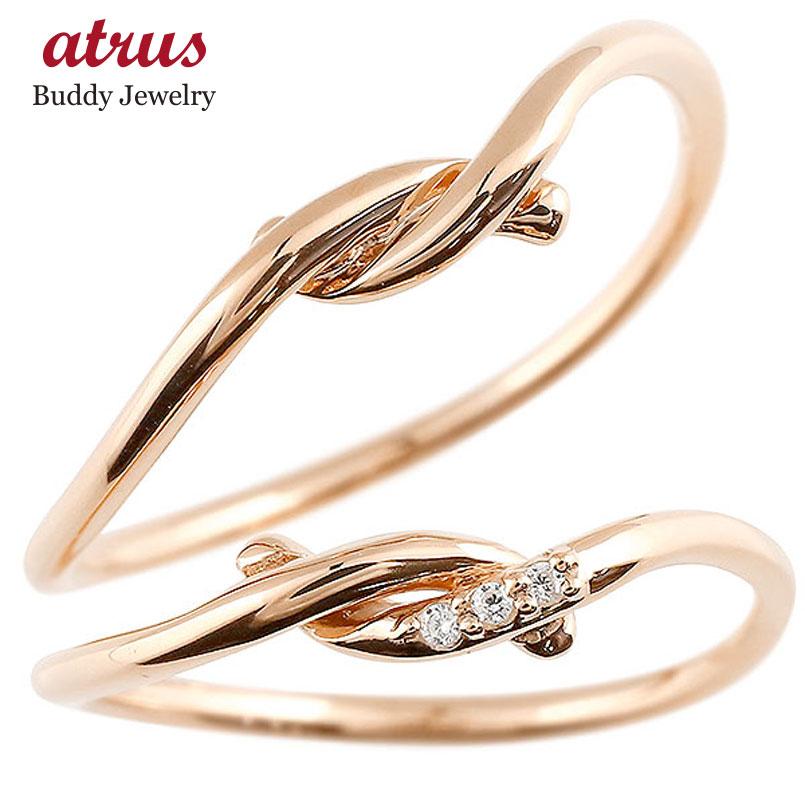 結婚指輪 【送料無料】 マリッジリング ペアリング ピンクゴールドk18 ダイヤモンド スイートペアリィー 結び リング 18金 華奢 ストレート ファッション