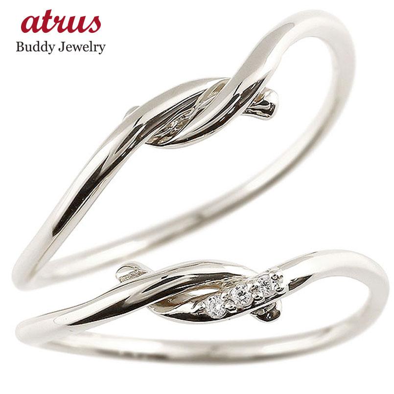 結婚指輪 マリッジリング ペアリング プラチナ ダイヤモンド スイートペアリィー 結び リング pt900 華奢 ストレート ファッション パートナー