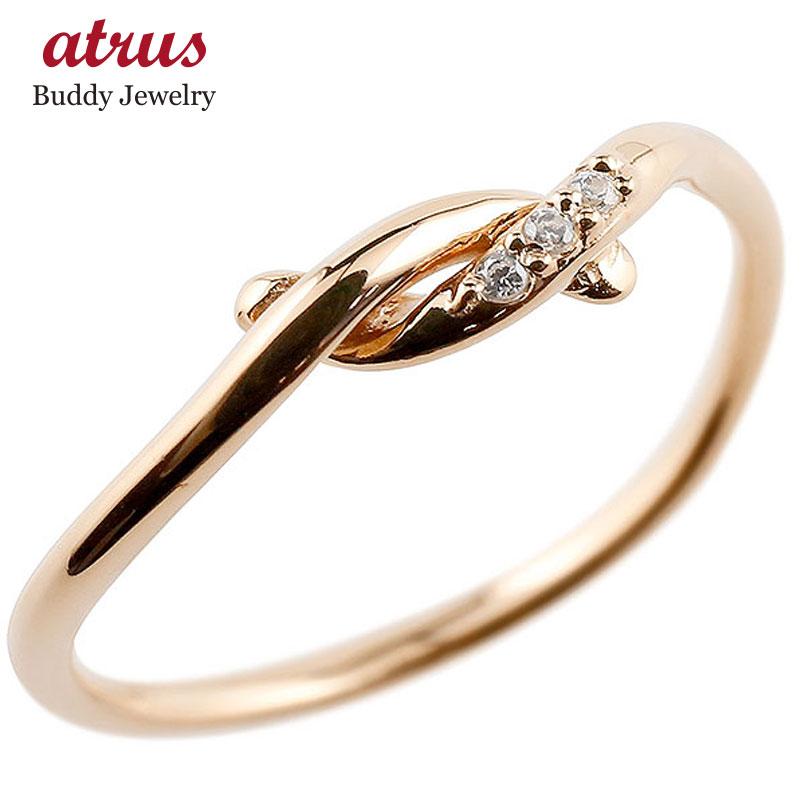 【送料無料】ピンキーリング ダイヤモンド ピンクゴールドk10 結び リング エンゲージリング 指輪 10金 華奢 指輪 ダイヤ ファッション 妻 嫁 奥さん 女性 彼女 娘 母 祖母 パートナー