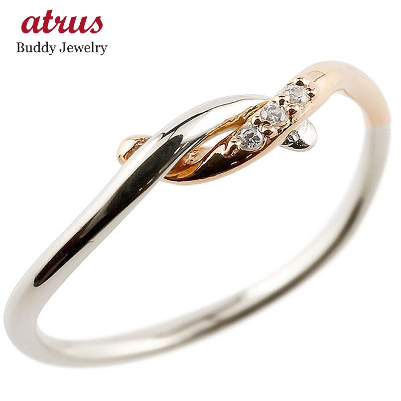 【送料無料】ピンキーリング プラチナ ダイヤモンド ピンクゴールドk18 結び リング エンゲージリング 指輪 pt900 18金 華奢 指輪 ダイヤ コンビ ファッション 妻 嫁 奥さん 女性 彼女 娘 母 祖母 パートナー