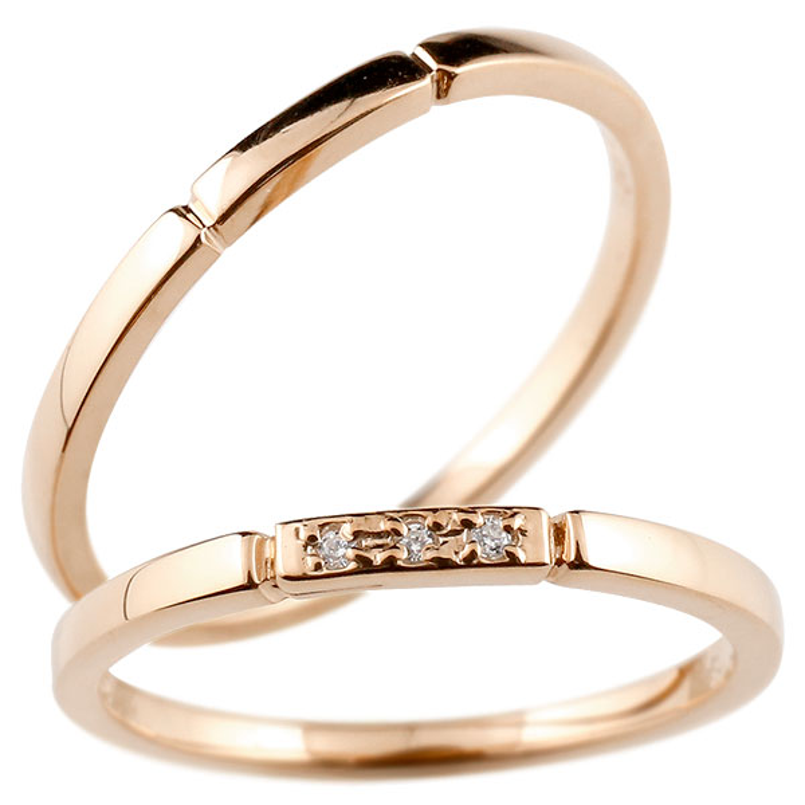 結婚指輪 マリッジリング ペアリング ピンクゴールドk18 ダイヤモンド スイートペアリィー 結び リング 18金 華奢 ストレート ファッション パートナー