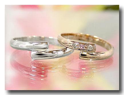 結婚指輪 ペアリング マリッジリング ホワイトゴールドk10 ピンクゴールドk10 ピンクサファイア 10金 ストレート カップル 2.3 プレゼント 女性 送料無料