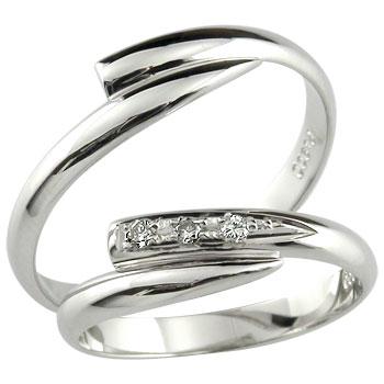 甲丸 ペアリング 結婚指輪 マリッジリング ダイヤモンド ホワイトゴールドk10 10金 ダイヤ ストレート カップル 2.3 宝石 プレゼント 女性 送料無料