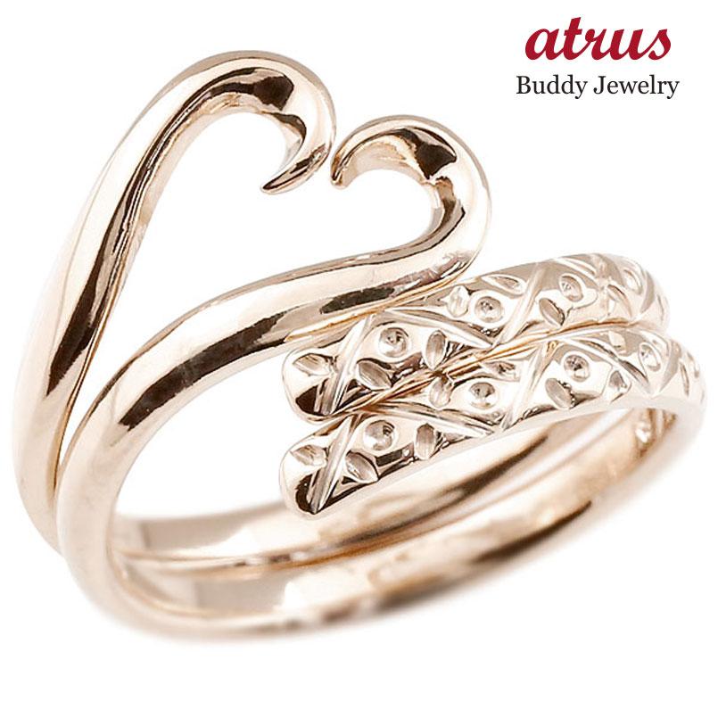 結婚指輪 スイートハグリング ペアリング マリッジリング ピンクゴールドk10 ハート フリーサイズリング 指輪 ハンドメイド 結婚式 10金 贈り物 誕生日プレゼント ギフト ファッション パートナー 送料無料