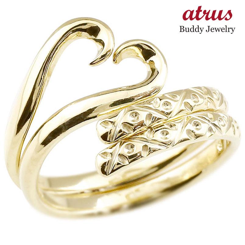 結婚指輪 スイートハグリング ペアリング マリッジリング イエローゴールドk18 ハート フリーサイズリング 指輪 ハンドメイド 結婚式 18金 贈り物 誕生日プレゼント ギフト ファッション パートナー 送料無料