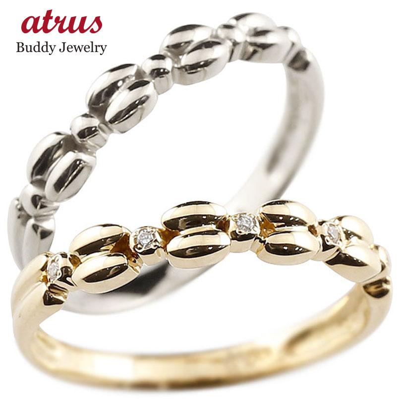 結婚指輪 ペアリング イエローゴールドk10リング ホワイトゴールドk10 ダイヤモンド シンプル 指輪 華奢リング 重ね付け 指輪 細め 細身 k10 アンティーク レディース 贈り物 誕生日プレゼント ギフト ファッション お返し パートナー 送料無料