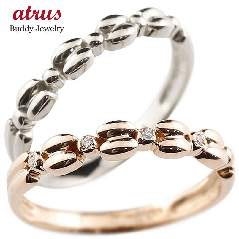 結婚指輪 ペアリング ピンクゴールドk18リング ホワイトゴールドk18 ダイヤモンド シンプル 指輪 華奢リング 重ね付け 指輪 細め 細身 k18 アンティーク レディース 贈り物 誕生日プレゼント ギフト ファッション お返し パートナー 送料無料