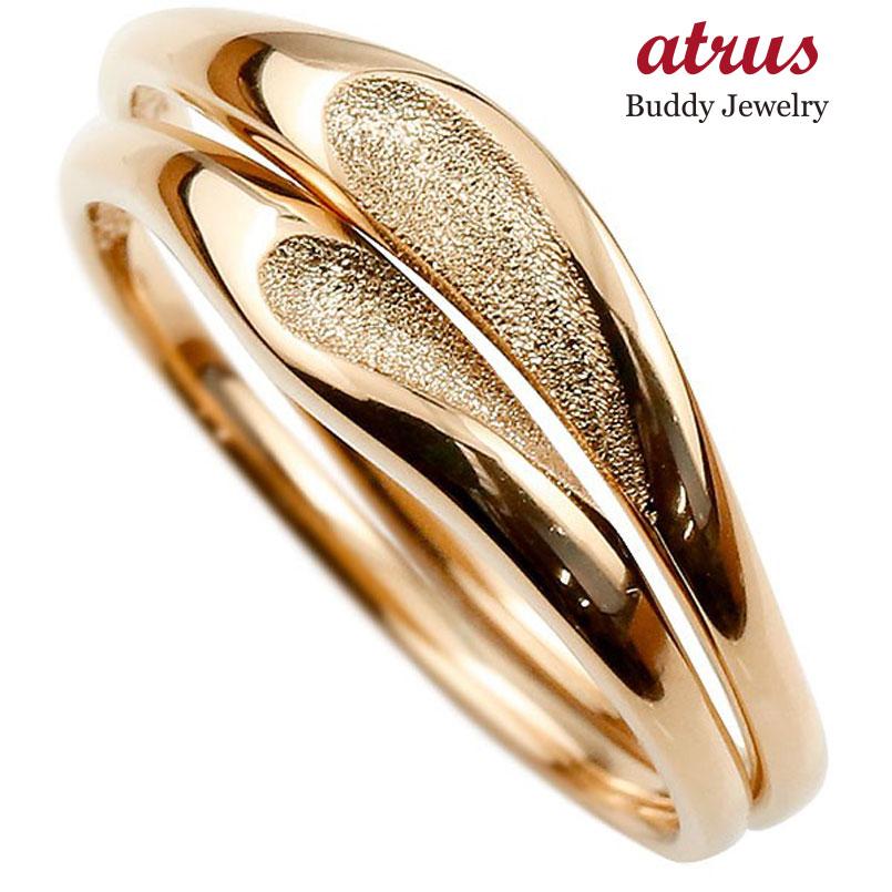結婚指輪 ペアリング マリッジリング ハート ピンクゴールドk18 18金 シンプル つや消し ストレート スイートペアリィー カップル ファッション パートナー