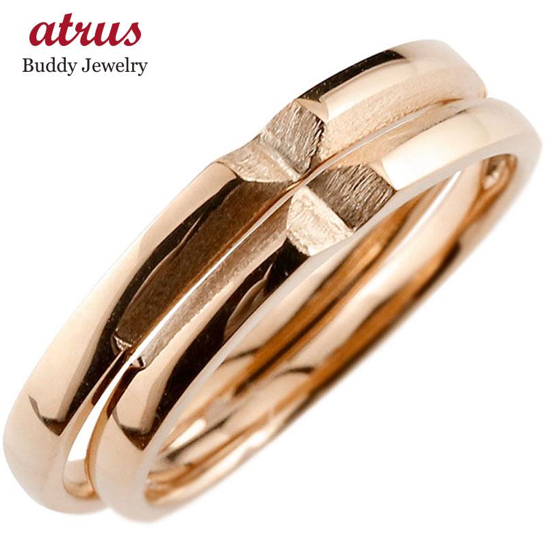 結婚指輪 ペアリング マリッジリング クロス 十字架 ピンクゴールドk18 18金 シンプル つや消し ストレート スイートペアリィー カップル ファッション パートナー