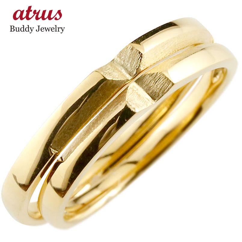 結婚指輪 ペアリング マリッジリング クロス 十字架 イエローゴールドk10 10金 シンプル つや消し ストレート スイートペアリィー カップル ファッション パートナー