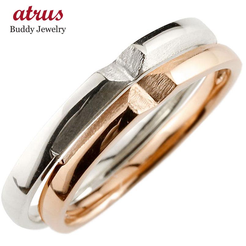 結婚指輪 ペアリング マリッジリング クロス 十字架 プラチナ ピンクゴールドk18 つや消し pt900 18金 ストレート スイートペアリィー ファッション パートナー