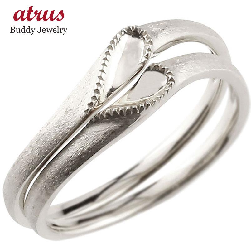 結婚指輪 【送料無料】ペアリング マリッジリング ハート ホワイトゴールドk10 10金 シンプル つや消し ストレート スイートペアリィー カップル ファッション パートナー