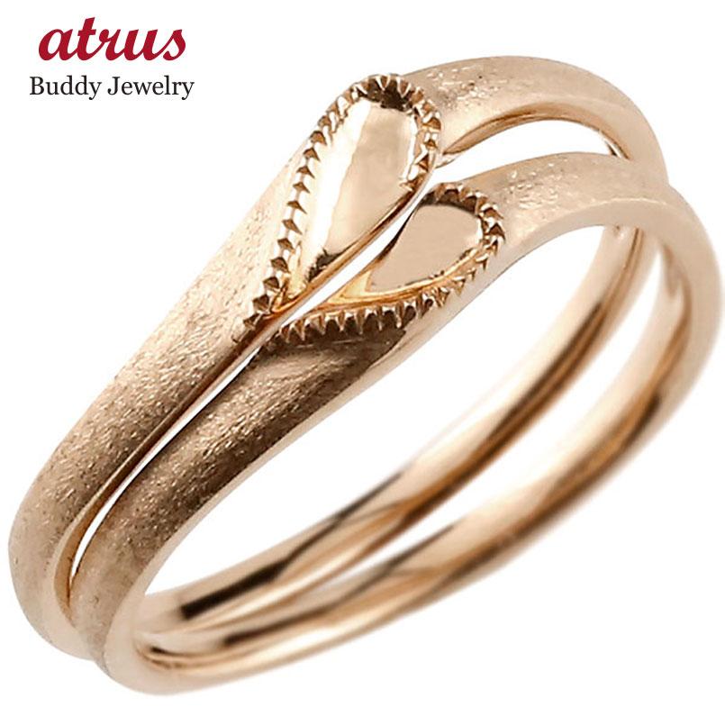 結婚指輪 【送料無料】ペアリング マリッジリング ハート ピンクゴールドk18 18金 シンプル つや消し ストレート スイートペアリィー カップル ファッション
