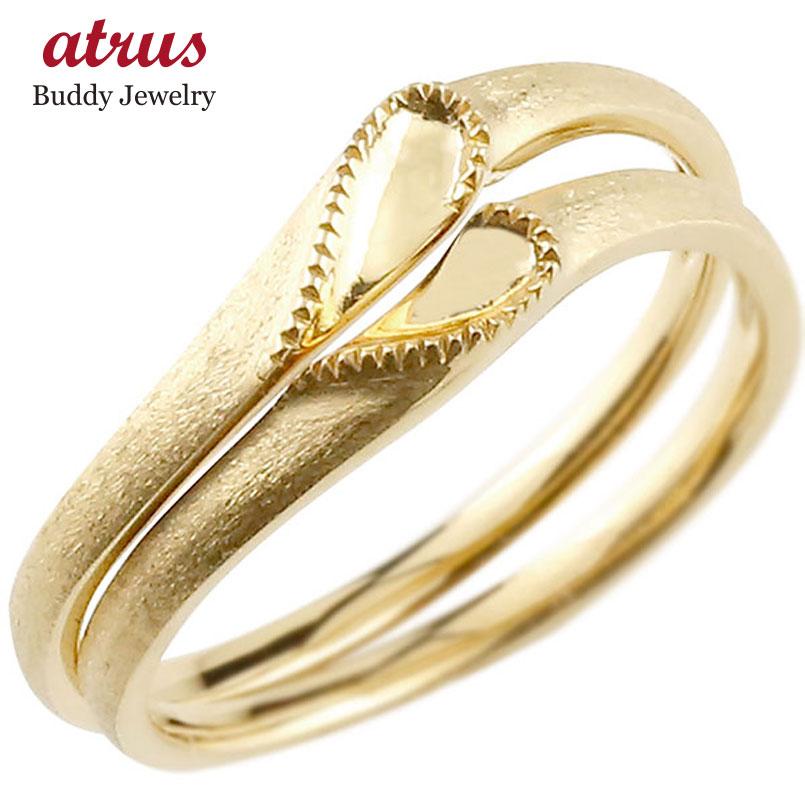 結婚指輪 ペアリング マリッジリング ハート イエローゴールドk10 10金 シンプル つや消し ストレート スイートペアリィー カップル ファッション パートナー