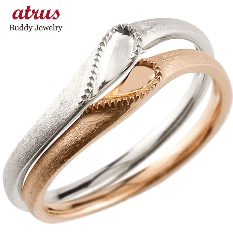 結婚指輪 ペアリング マリッジリング ハート プラチナ ピンクゴールドk18 つや消し pt900 18金 ストレート スイートペアリィー ファッション パートナー