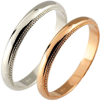 結婚指輪 ペアリング 結婚指輪 マリッジリング プラチナ 結婚式 ミル打ち ピンクゴールドk18 甲丸 地金リング 宝石なし 18金 カップル 2.3 送料無料