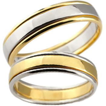 結婚指輪 ペアリング 人気 結婚指輪 プラチナ マリッジリング 結婚式 地金リング イエローゴールドk18 宝石なし コンビ 18金 ストレート カップル 送料無料