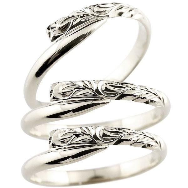 ハワイアンジュエリー 結婚指輪 ペアリング 結婚指輪 マリッジリング プラチナ ハワイアンリング スパイラル 地金 pt900 トラスリング カップル 3本セット