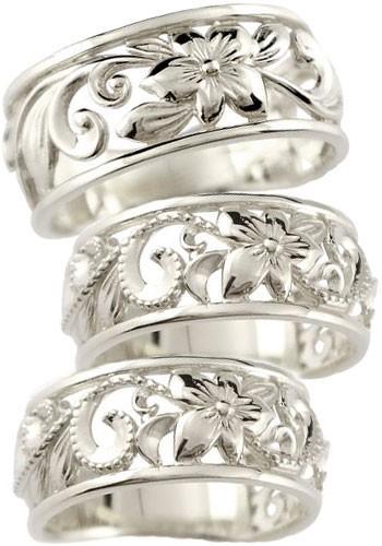 ハワイアンジュエリー 結婚指輪 ペアリング プラチナ 結婚指輪 ミル打ち 幅広 透かし 地金リング pt900 ストレート カップル トラスリング 3本セット 女性