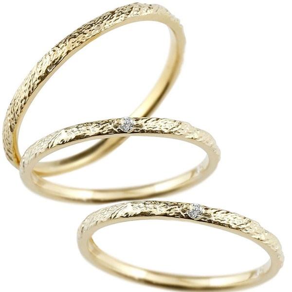 ペアリング マリッジリング 結婚指輪 ダイヤモンド イエローゴールドk18 リング 一粒 18金 極細 華奢 アンティーク 結婚式 トラスリング ストレート 3本セット
