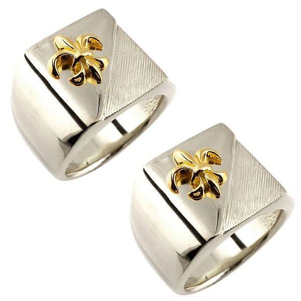 結婚指輪 メンズ ペアリング プラチナ pt900 印台 幅広 ユリの紋章 イエローゴールドk18 コンビリング ペアリング 18金 トラスト フルール・ド・リス